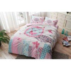 Фланелевое постельное бельё TAC Butterfly Pembe евро