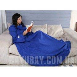 Флисовый плед с рукавами синий