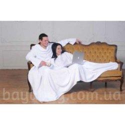 Плед с рукавами для двоих белый