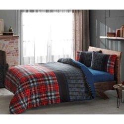 Фланелевое постельное белье TAC Storm Red евро