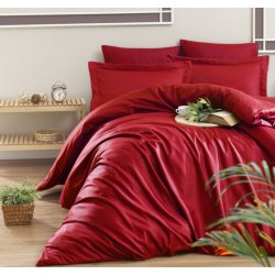 Однотонное постельное белье First Choice Satin Cotton Snazzy Kirmizi