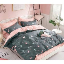 Фланелевое постельное белье Розовый фламинго