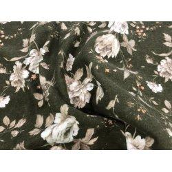 Фланелевое постельное белье Розы на зелёном