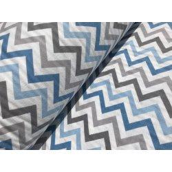 Фланелевое постельное белье Зигзаг синий