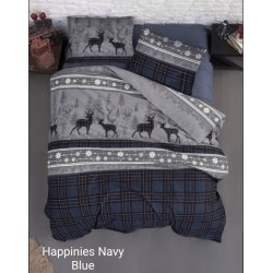 Фланелевое постельное белье First Choice Happinies Navi евро