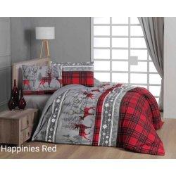 Фланелевое постельное белье First Choice Happinies Red евро