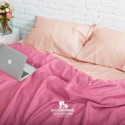 Постельное белье Хлопковые традиции сатин SE013 розовый с персиком