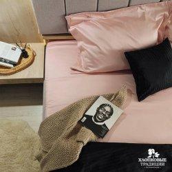 Постельное бельё сатин страйп Хлопковые Традиции ST040 чёрный с розовым
