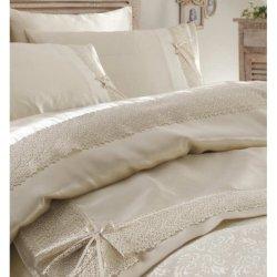 Элитное постельное бельё Karaca Home + пике Tugce bej 2018-2