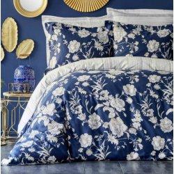 Элитное постельное бельё Karaca Home сатин Elvira lacivert синее евро