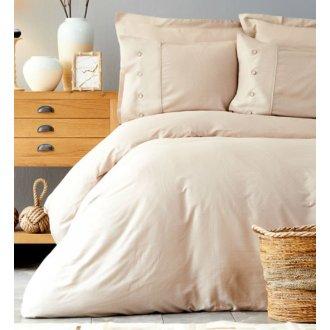 Однотонное постельное бельё Karaca Home сатин Infinity bej евро