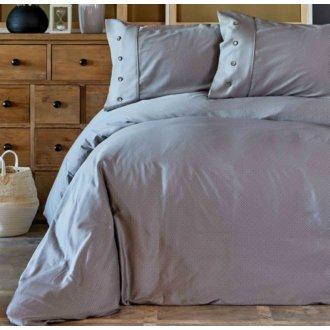 Однотонное постельное бельё Karaca Home сатин Infinity gri серое евро