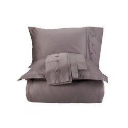 Однотонное постельное бельё Karaca Home сатин Infinity vizon кофе евро