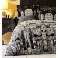 Элитное постельное бельё Karaca Home сатин Kiara siyah черное евро