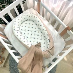 Кокон Msonya Baby Design Сердечки серо-бежевые
