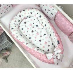 Кокон Msonya Baby Design Premium Stars серо-розовый