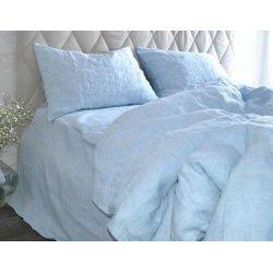 Постельное бельё из вареного льна Morandi Loft Melange Blue голубое
