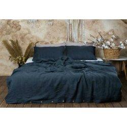 Постельное бельё из вареного льна Loft Dark Gray с кокосовыми пуговицами