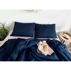 Постельное бельё из вареного льна Loft Navy Blue