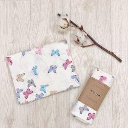 Пеленка для новорожденного Msonya фланель бабочки розово-голубые