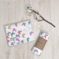 Пеленка для новорожденного Msonya фланель Бабочки розово-мятные