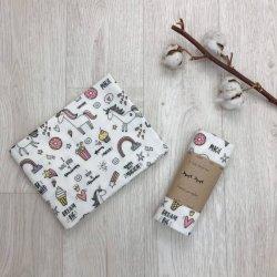 Пеленка для новорожденного Msonya фланель Единорог с радугами
