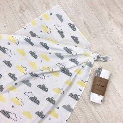 Пеленка для новорожденного Msonya муслин Тучка серо-желтая
