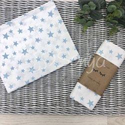 Пеленка для новорожденного Msonya звезды россыпь голубые на белом