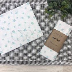 Пеленка для новорожденного Msonya звезды россыпь мятные на белом