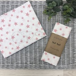 Пеленка для новорожденного Msonya звезды россыпь пудра на белом