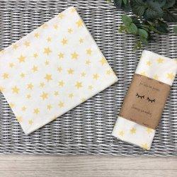 Пеленка для новорожденного Msonya Звёзды россыпью желтые на белом