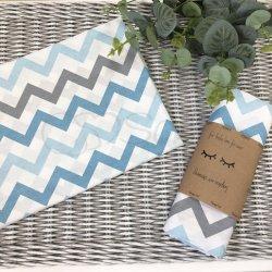 Пеленка для новорожденного Msonya зигзаг серый с голубым