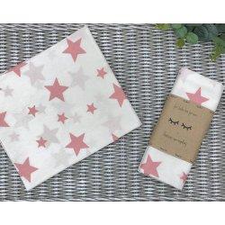 Пеленка для новорожденного Msonya Звезды крупные пудра на белом