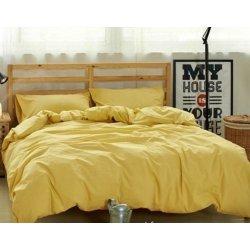 Жёлтое однотонное постельное бельё ранфорс люкс Moon Love G03 yellow