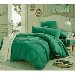 Зелёное однотонное постельное бельё Moon Love ранфорс люкс G03 Green