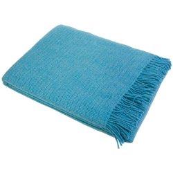 Плед шерстяной Vladi Рогожка 140х200 голубой