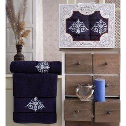Набор махровых полотенец Gulcan Delphine Dark Blue банное и лицевое