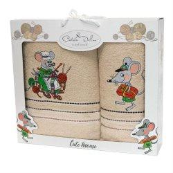 Набор махровых полотенец Mouse Bej