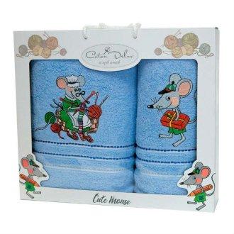 Набор махровых полотенец Mouse Blue