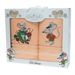 Набор махровых полотенец Mouse Peach