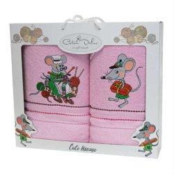 Набор махровых полотенец Mouse Pink