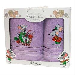 Набор махровых полотенец Mouse Violet
