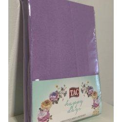 Простынь на резинке трикотажная Tac Jersey Fitted Carsaf Seti lila 160*200 с наволочками лиловая