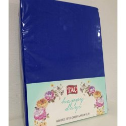 Простынь на резинке трикотажная Tac CRF Carsaf seti 100*200 с наволочками синяя