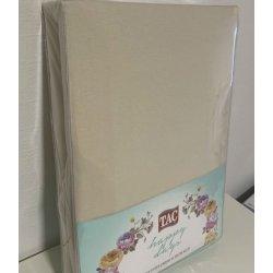 Простынь на резинке трикотажная Tac Jersey Fitted Carsaf Seti ekru 160*200 с наволочками песочная