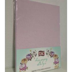 Простынь на резинке трикотажная Tac Jersey Fitted Carsaf Seti pembe 160*200 с наволочками розовая