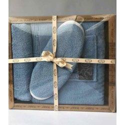 Женский комплект для бани - юбка, капюшон, тапочки Purry голубой