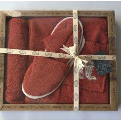 Женский комплект для бани - юбка, капюшон, тапочки Purry коралловый