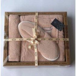 Женский комплект для бани - юбка, капюшон, тапочки Purry пудровый