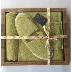 Женский комплект для бани - юбка, капюшон, тапочки Purry салатовый